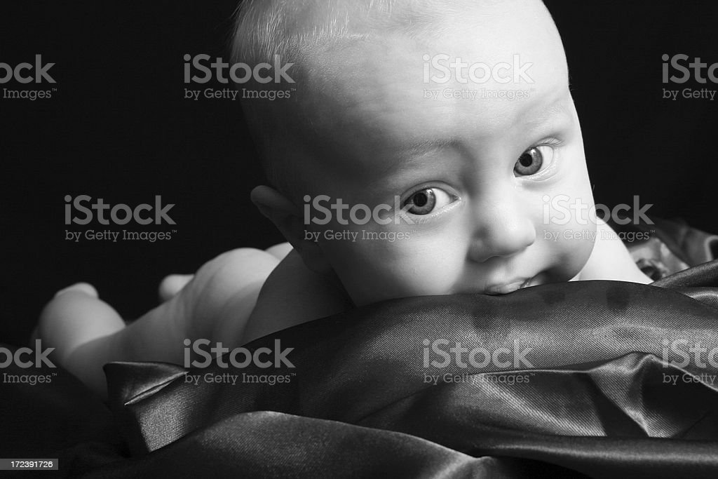 Teething Baby Chewing On Blanket Stock Photo   More Pictures of Baby ... 865bf72226c1