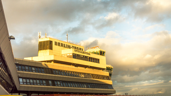Main terminal, ATC tower and tarmac at Berlin's landmark Tegel Airport TXL is shot from observation deck on the airport's last week of operation before permanent closure