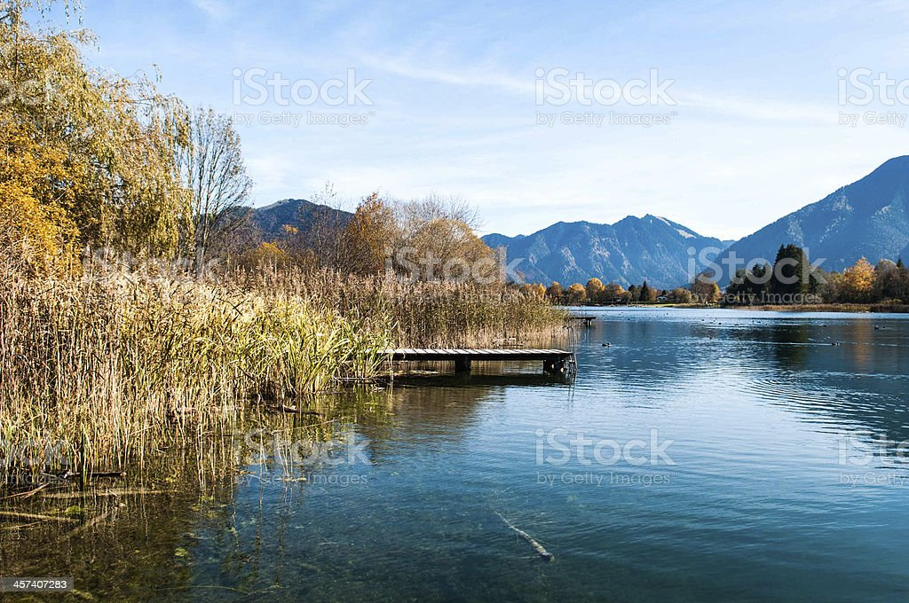 Tegernsee with Alps stock photo