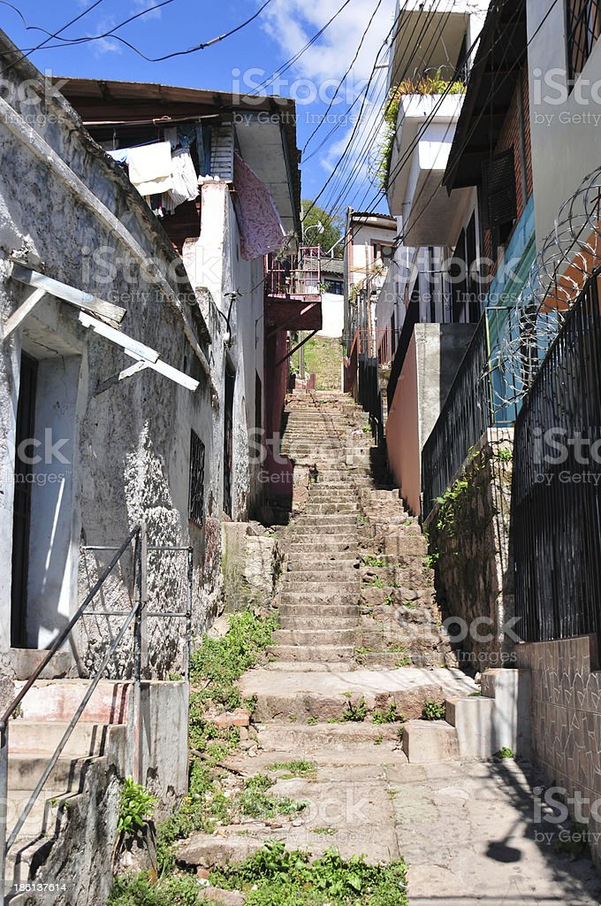 Tegucigalpa, Honduras: alley with stairs stock photo