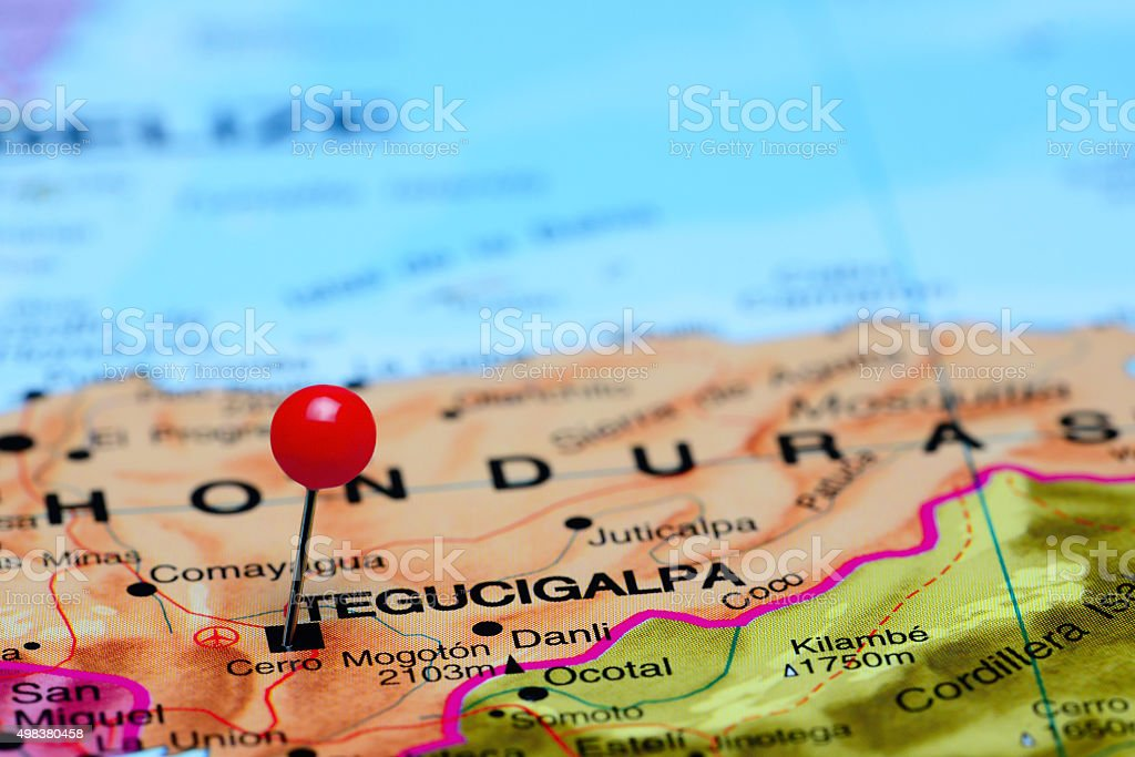 Tegucigalpa pinned on a map of America stock photo