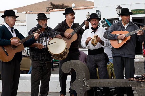 Teguise - Canarian musicians in Plaza de la Costitucion, Lanzarote stock photo