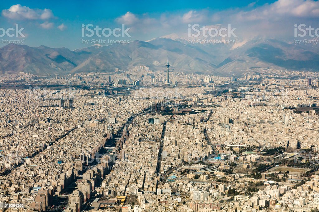 Tehran and Snowcapped Alborz Mountains from the Air stock photo
