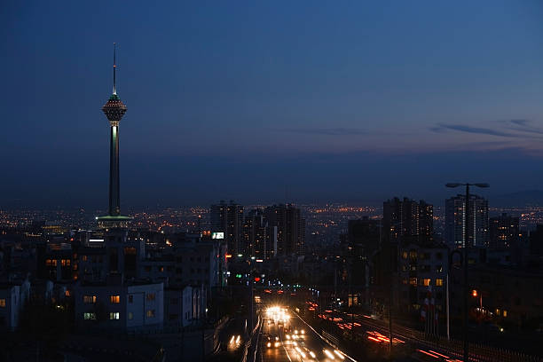 Tehran skyline and Milad tower stock photo
