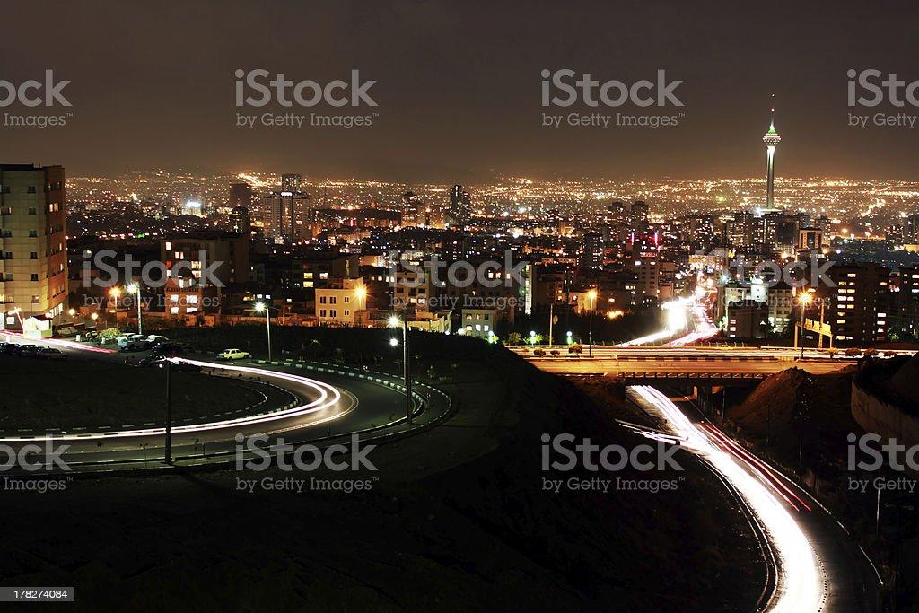 Tehran skyline at night royalty-free stock photo