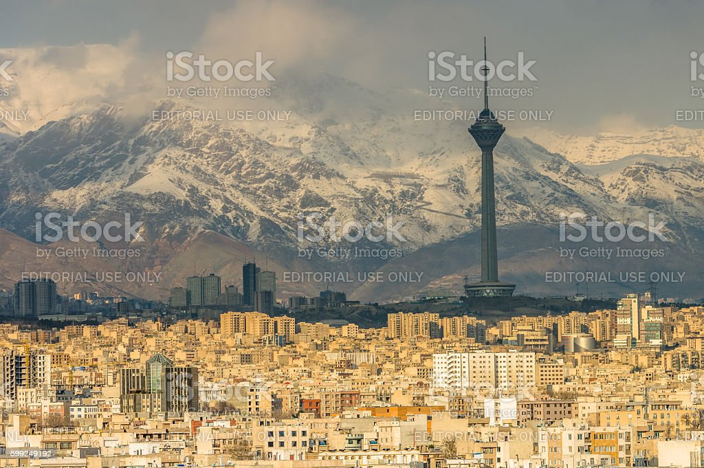 Tehran skyline of the city stock photo