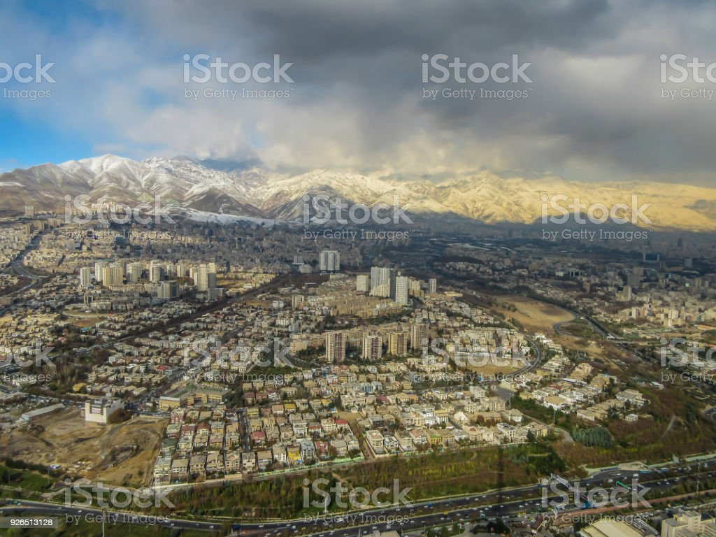 Tehran skyline seen from Milad Tower, also known as Tehran Tower, in Iran stock photo