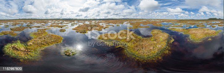 High vantage photo taken from a drone flying above the marshy water below. Teicu bog is the largest in Baltic States