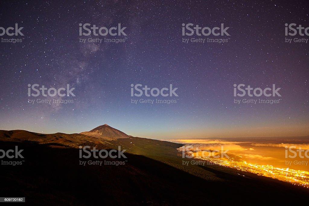 Teide and San Cristóbal de la Laguna stock photo