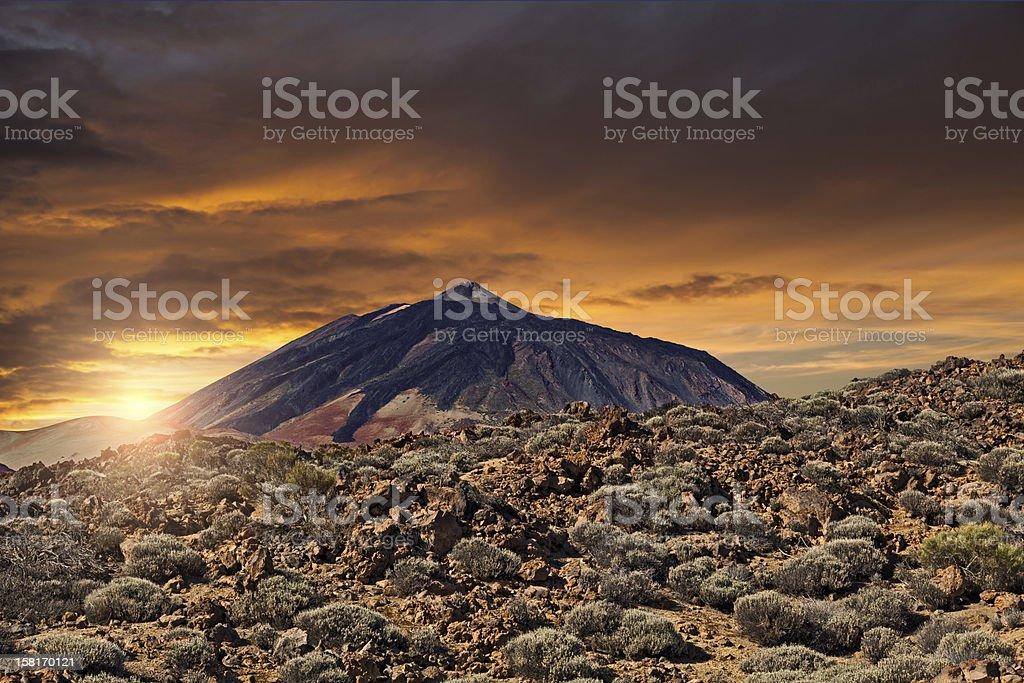 Teide Mountain at Sunset stock photo