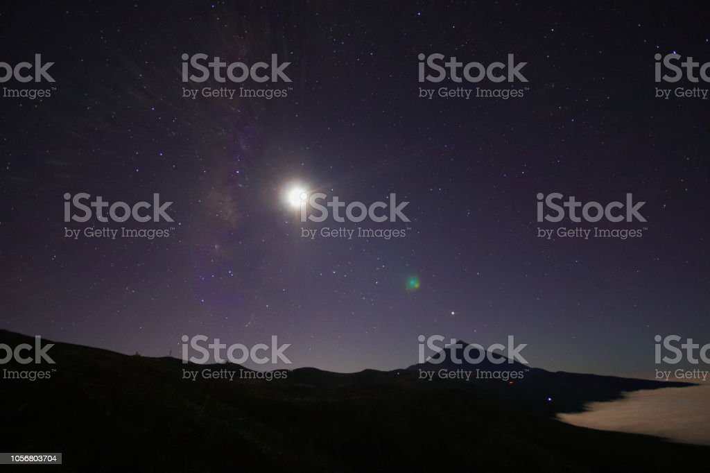 Teide Volcano in Tenerife during full moon night and Sea Cloud over...