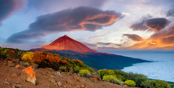 Teide volcano in Tenerife in the beautiful light of the setting sun