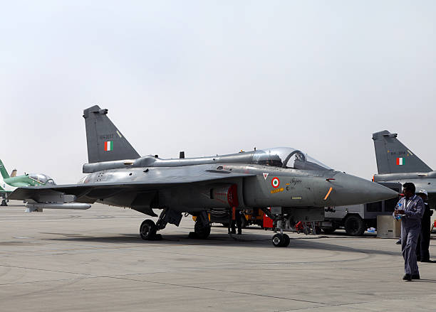 HAL Tejas fighter jet  in Bahrain International Airshow stock photo