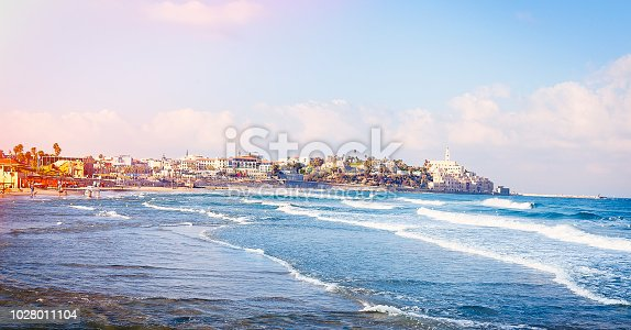 View of Tel Aviv beach and old Jaffa in early morning