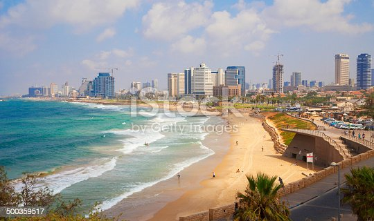 Tel Aviv coast view as seen from Jaffa. View of beaches and boardwalk.