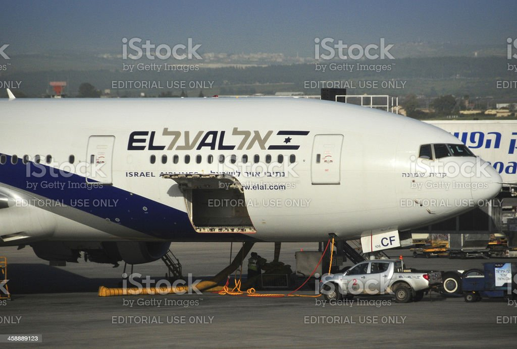 Tel Aviv Ben Gurion Airport, Israel: El Al Boeing 777 stock photo