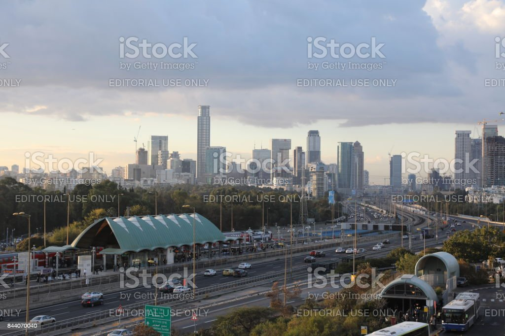 Tel Aviv cityscape skyline panoramic aerial view stock photo