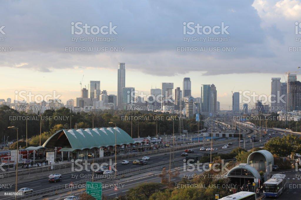 Tel Aviv cityscape skyline panoramic aerial view stock photo