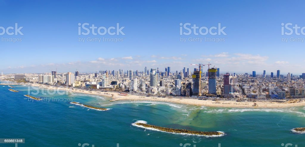 Tel Aviv Coastline - Aerial view stock photo