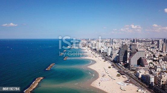 Tel Aviv coastline and skyline as seen from The Mediterranean sea