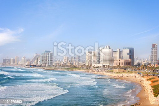 View of Tel Aviv beach in the afternoon hours.