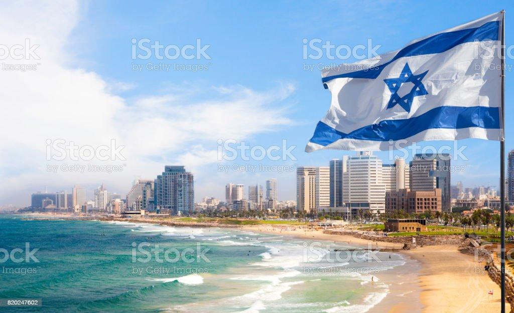 Tel Aviv coastline with Israel Flag, Israel stock photo