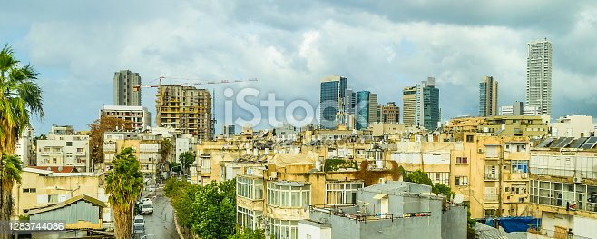 Aerial view downtown urban scene of tel aviv city , Israel