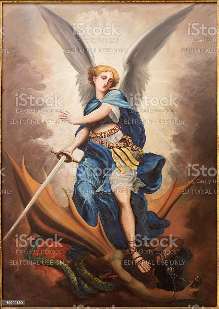 Tel Aviv - paint of archangel Michael stock photo