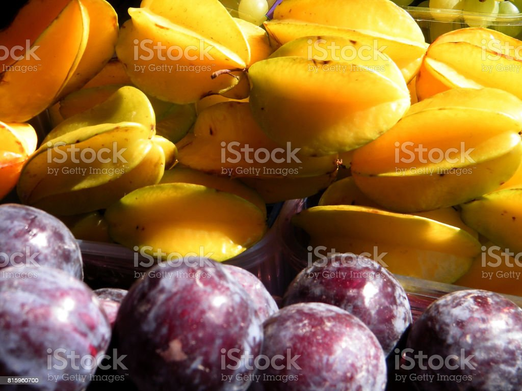 Tel Aviv Plums and Star Fruit 2011 stock photo