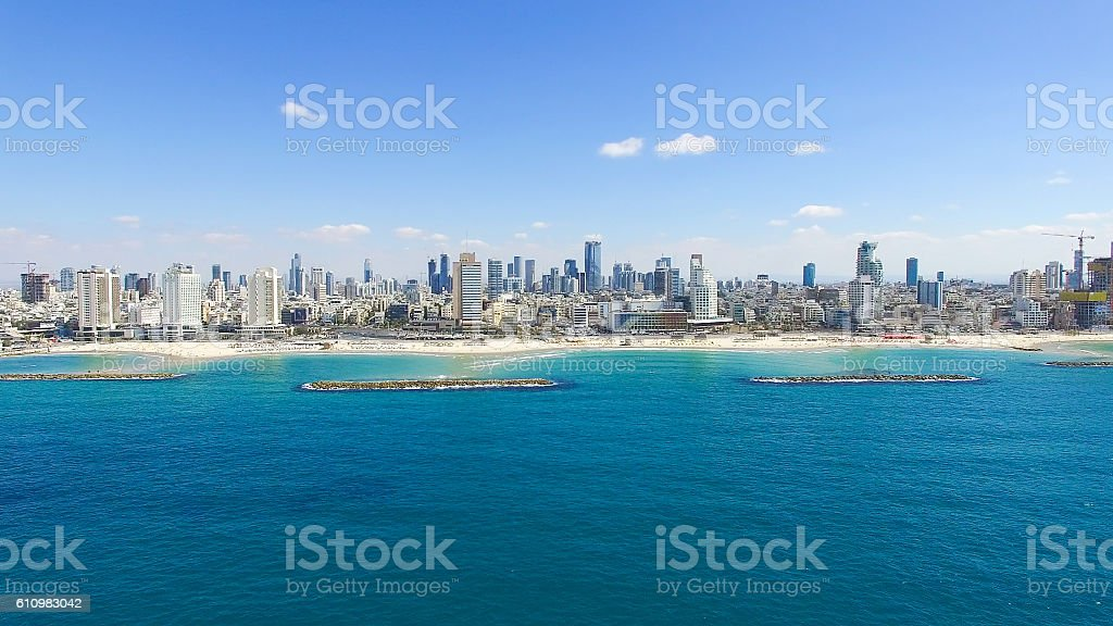 Tel Aviv skyline - Aerial photo stock photo