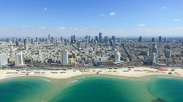 tel aviv skyline - foto aérea - israel - fotografias e filmes do acervo