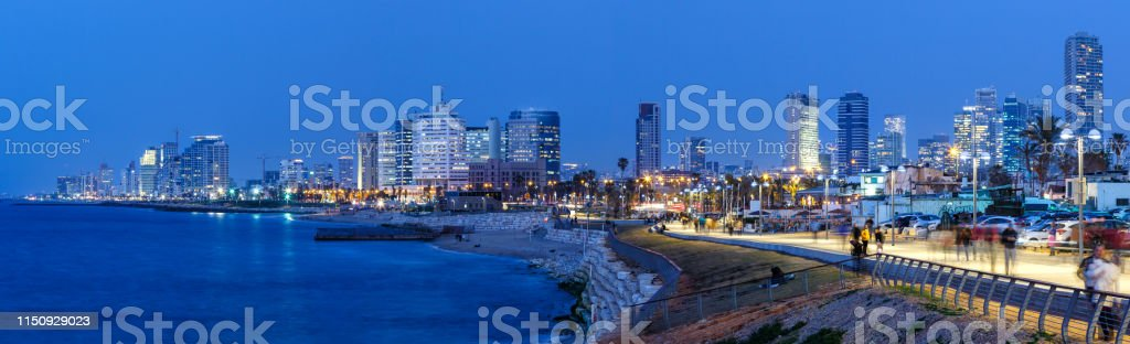 Tel Aviv skyline panorama Israel blue hour night city sea skyscrapers...