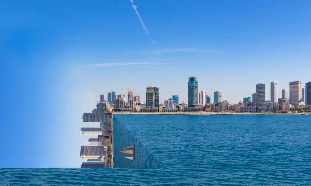 tel aviv skyline surrealism square world - surrealistyczny zdjęcia i obrazy z banku zdjęć