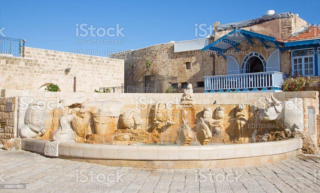 Tel Aviv - The modern Zodiac Fountain on Kedumim Square stock photo