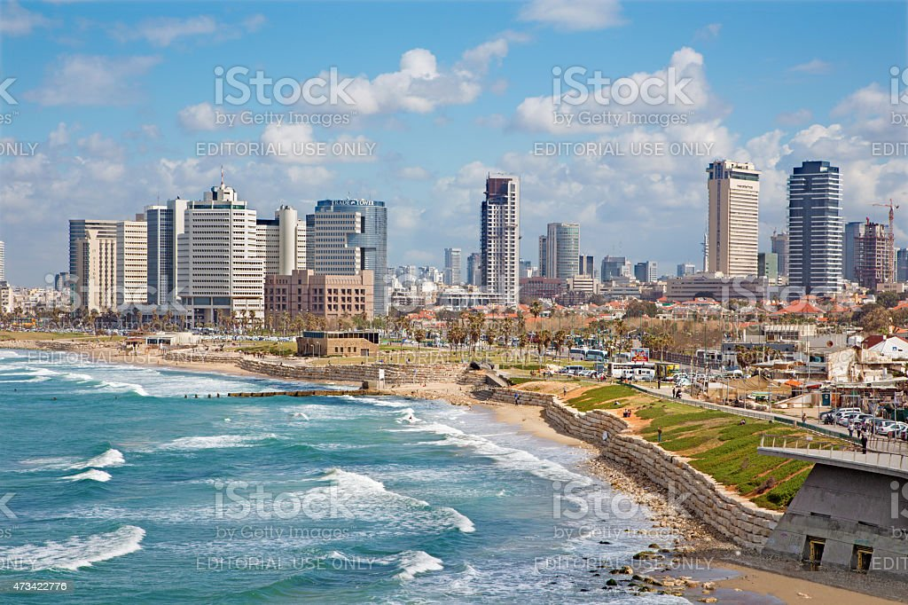 Tel Aviv - The outlook to waterfront and city stock photo