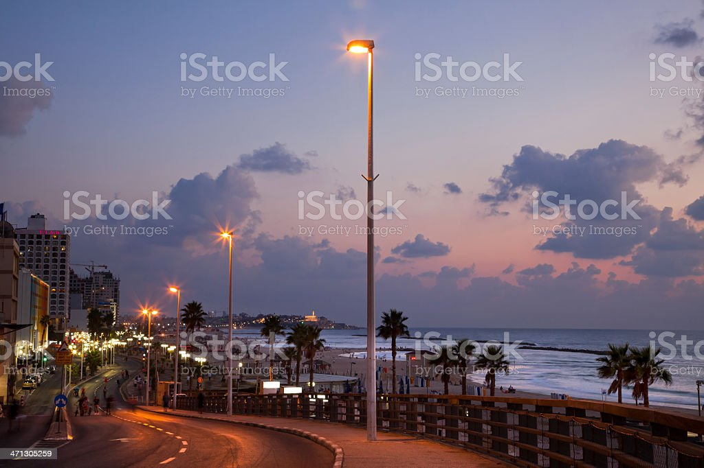 Tel-Aviv Boardwalk and Beach at Dusk royalty-free stock photo