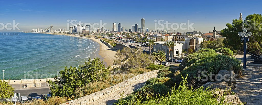 Tel-Aviv coastline view stock photo