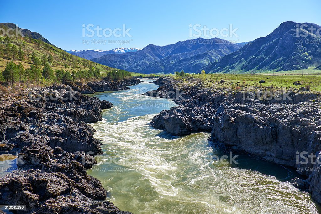 Teldykpen rapids on Altai river Katun near Oroktoi, Russia stock photo
