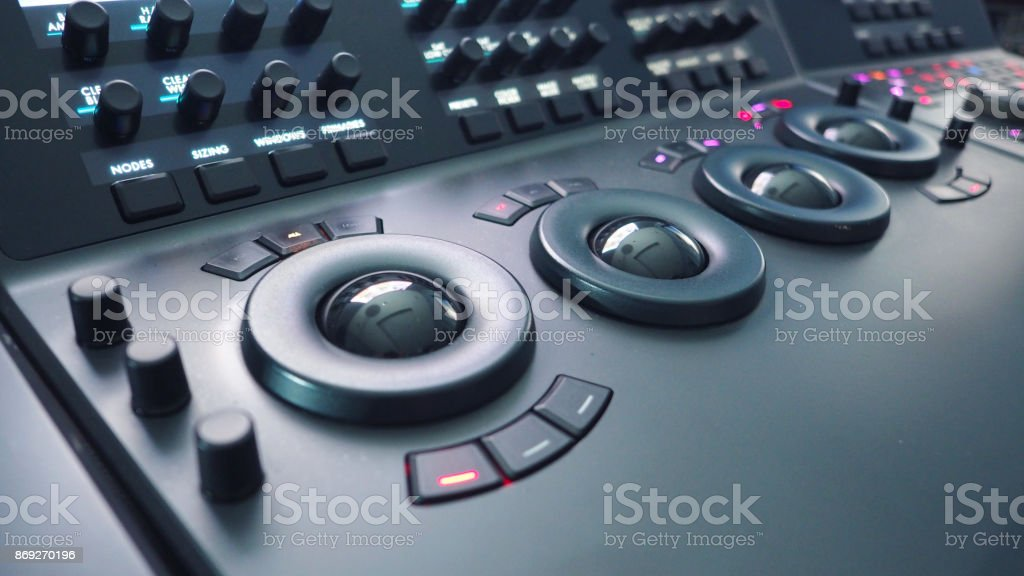 Telecine control machine for edit or adjust color on digital video stock photo