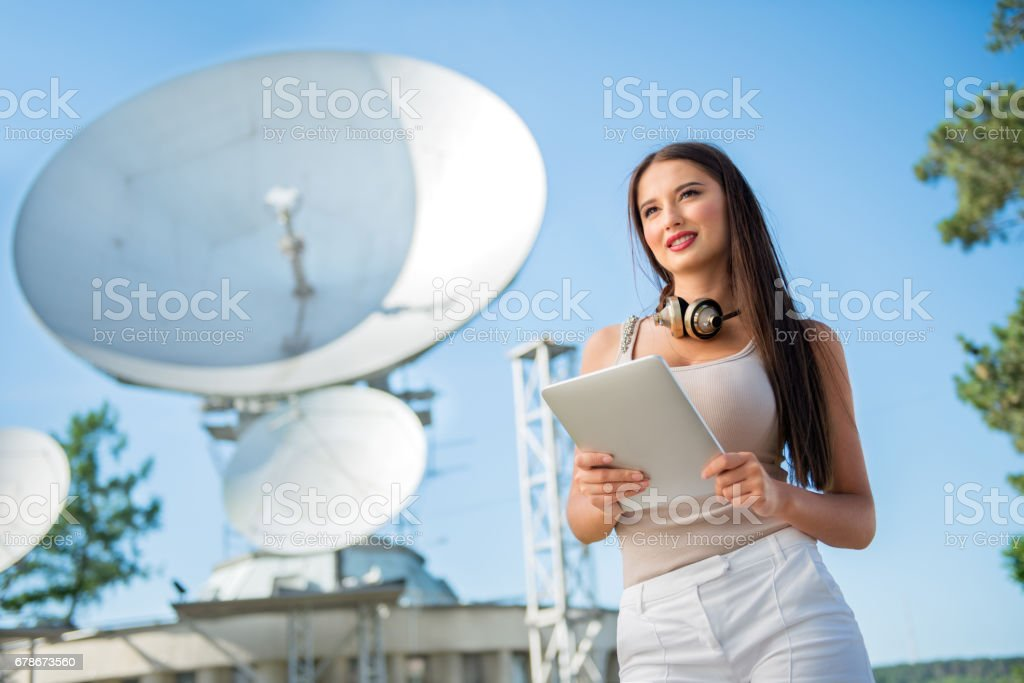 Telecom lady. stock photo