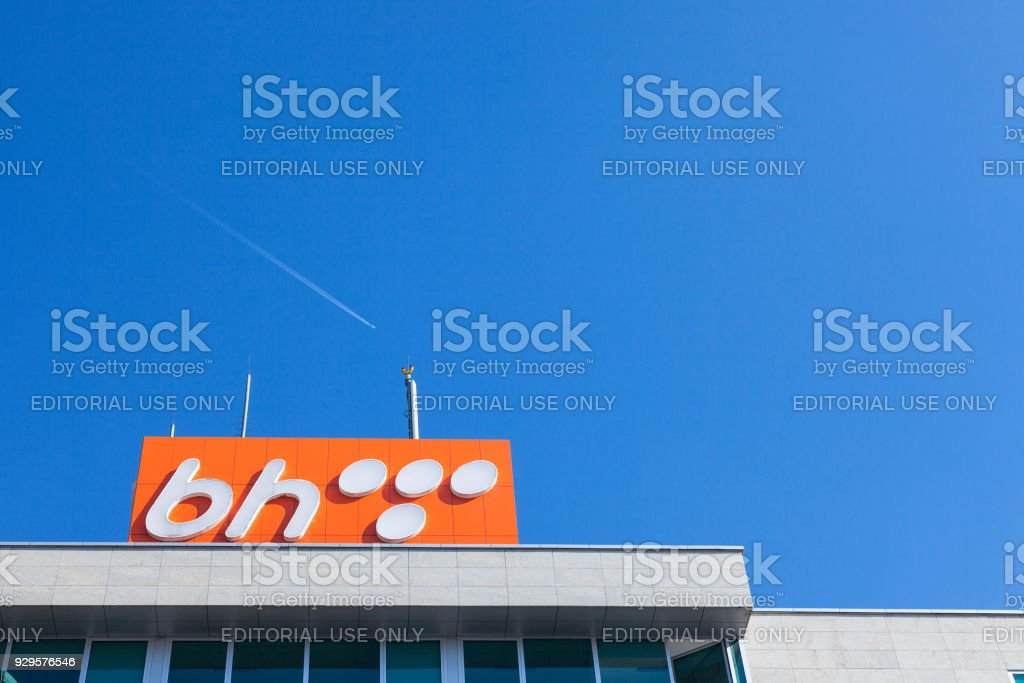 BH Telecom logo on a sign on their headquarters in Sarajevo. BH Telecom is the main telecommunication company in Bosnia stock photo