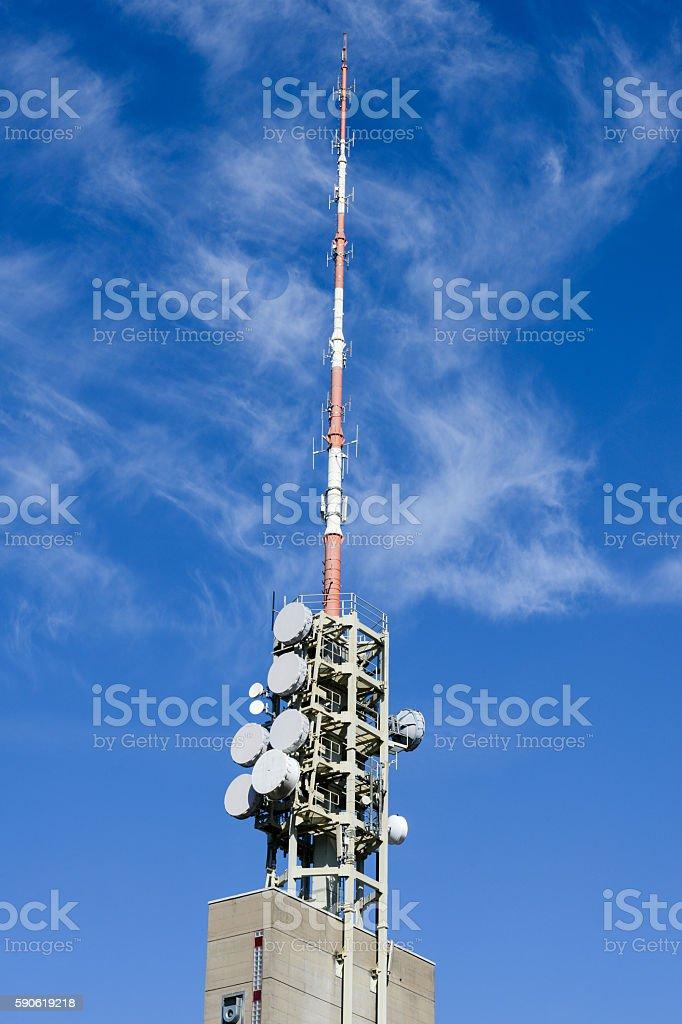 Telecommunication antenna with microwave link antennas stock photo