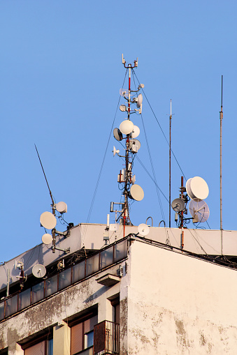 Telecommunication Base Stations Network Repeaters On The Roof Of