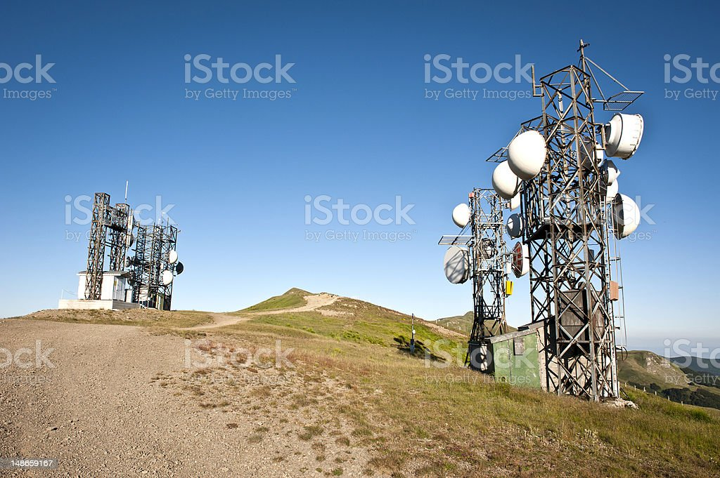 Telecommunication Broadcasting Station on Top of Mountain stock photo