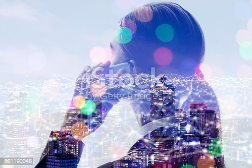 istock Telecommunication concept. Young woman calling with smart phone. 861190046