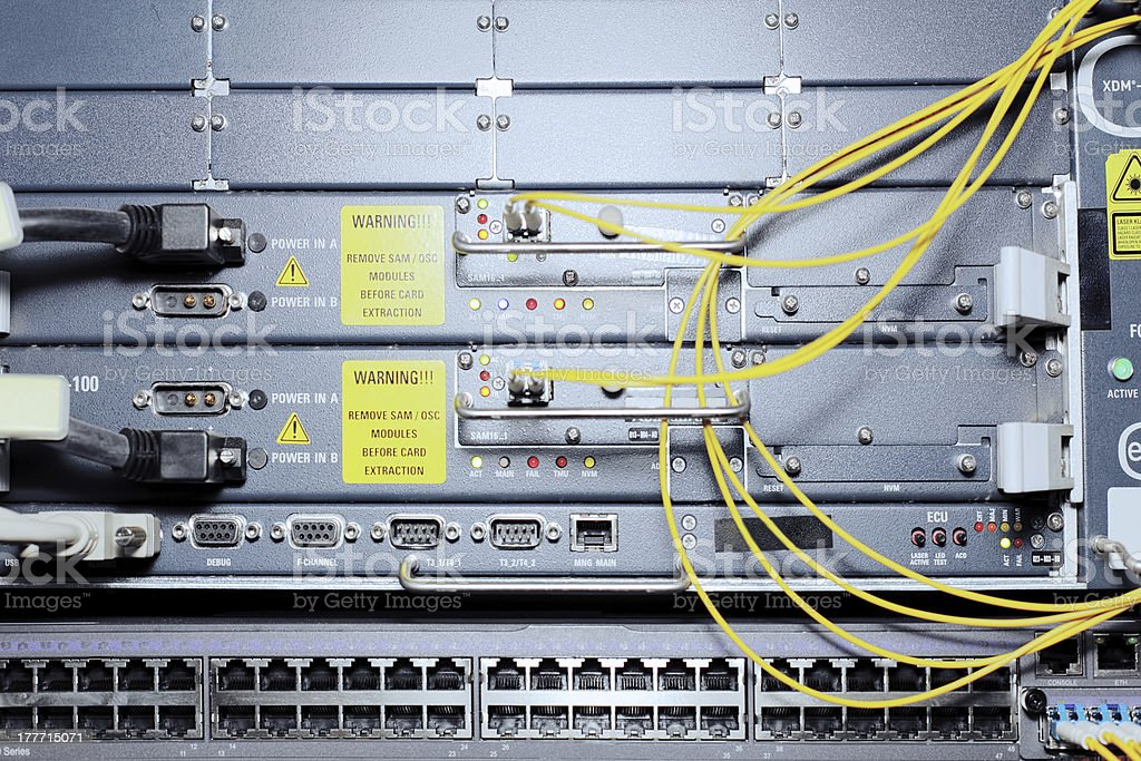 Telecommunication equipment in a datacenter. stock photo