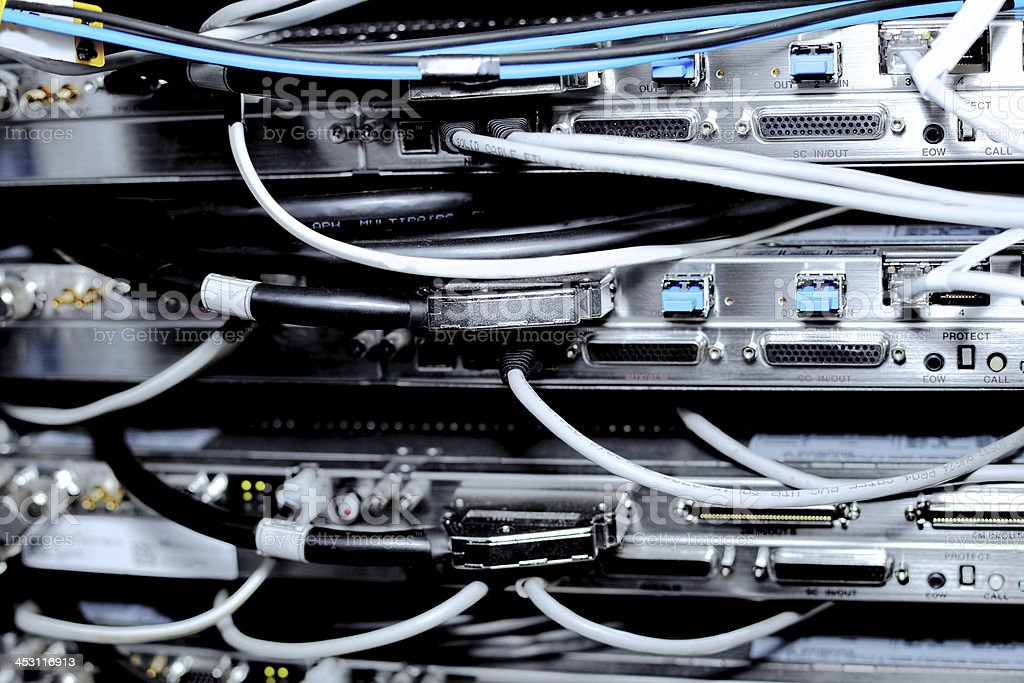 Telecommunication equipment in a datacenter. royalty-free stock photo