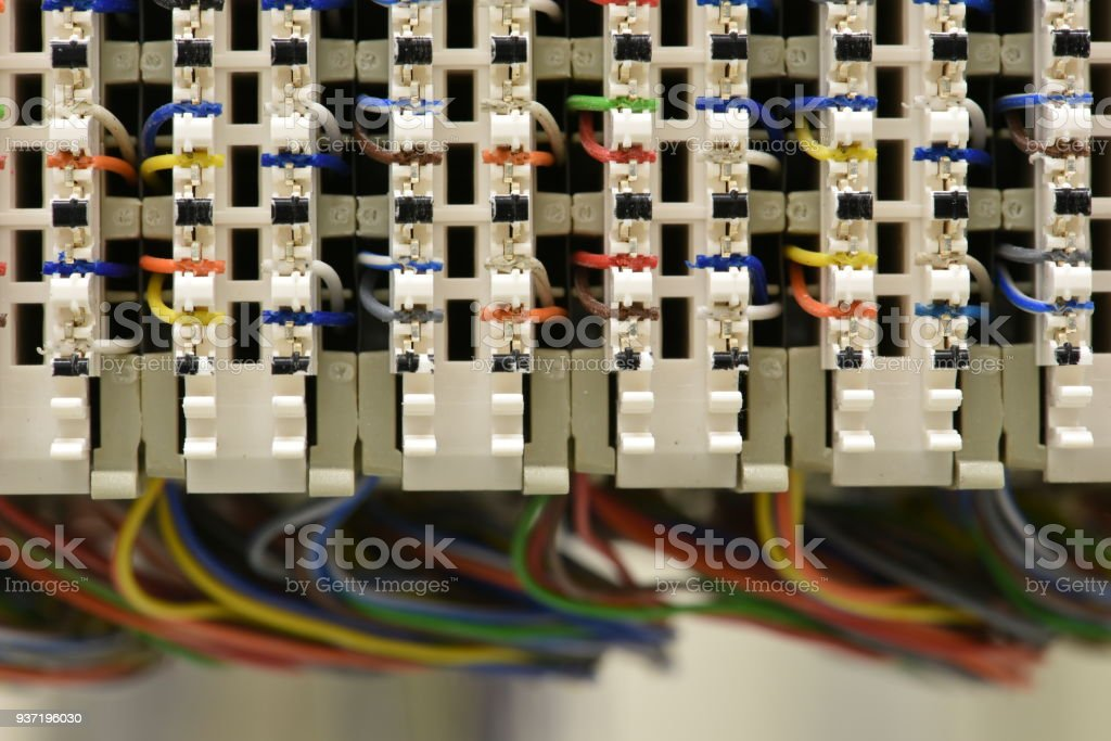 Telecommunication Main Distribution Frame With Cables Stock Photo ...