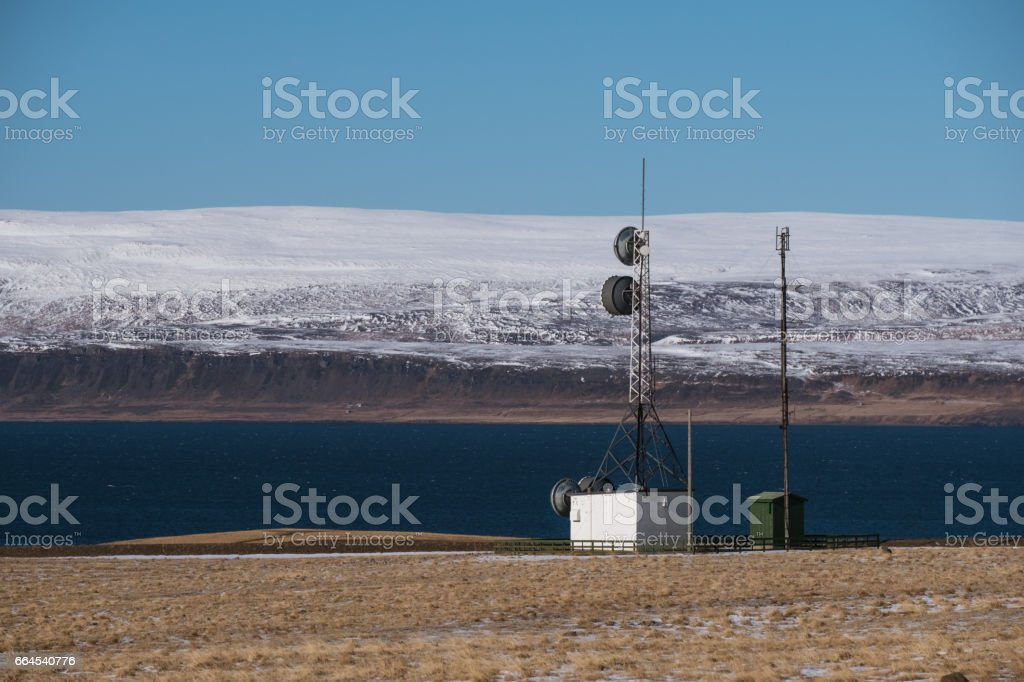 Telecommunication mast station in countryside, rural area royalty-free stock photo