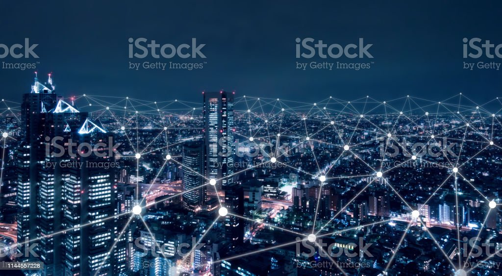 Telecommunication network above city, wireless mobile internet technology for smart grid or 5G LTE data connection, concept about IoT, global business, fintech, blockchain stock photo